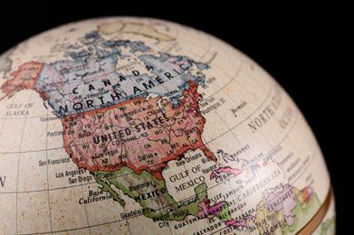 portion of a globe showing the United States and surrounding countries