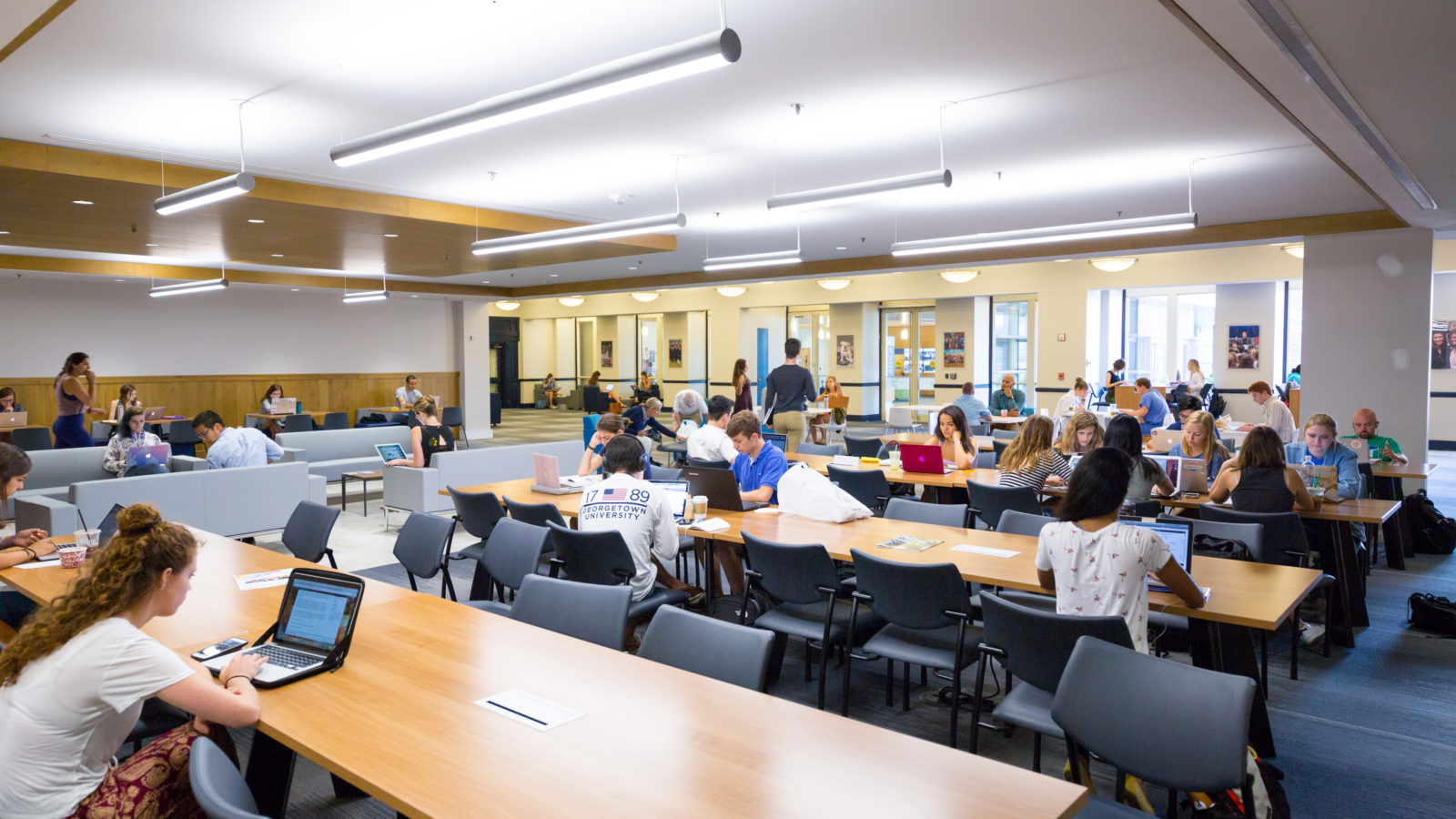 Students studying in Leavey Center.