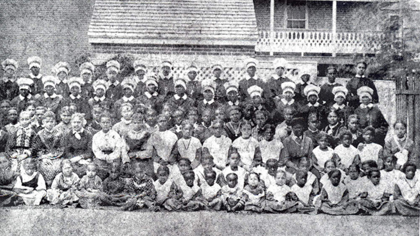 Black and white school photo.