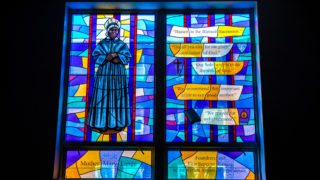 Stained-glass window of Mother Mary Lange.