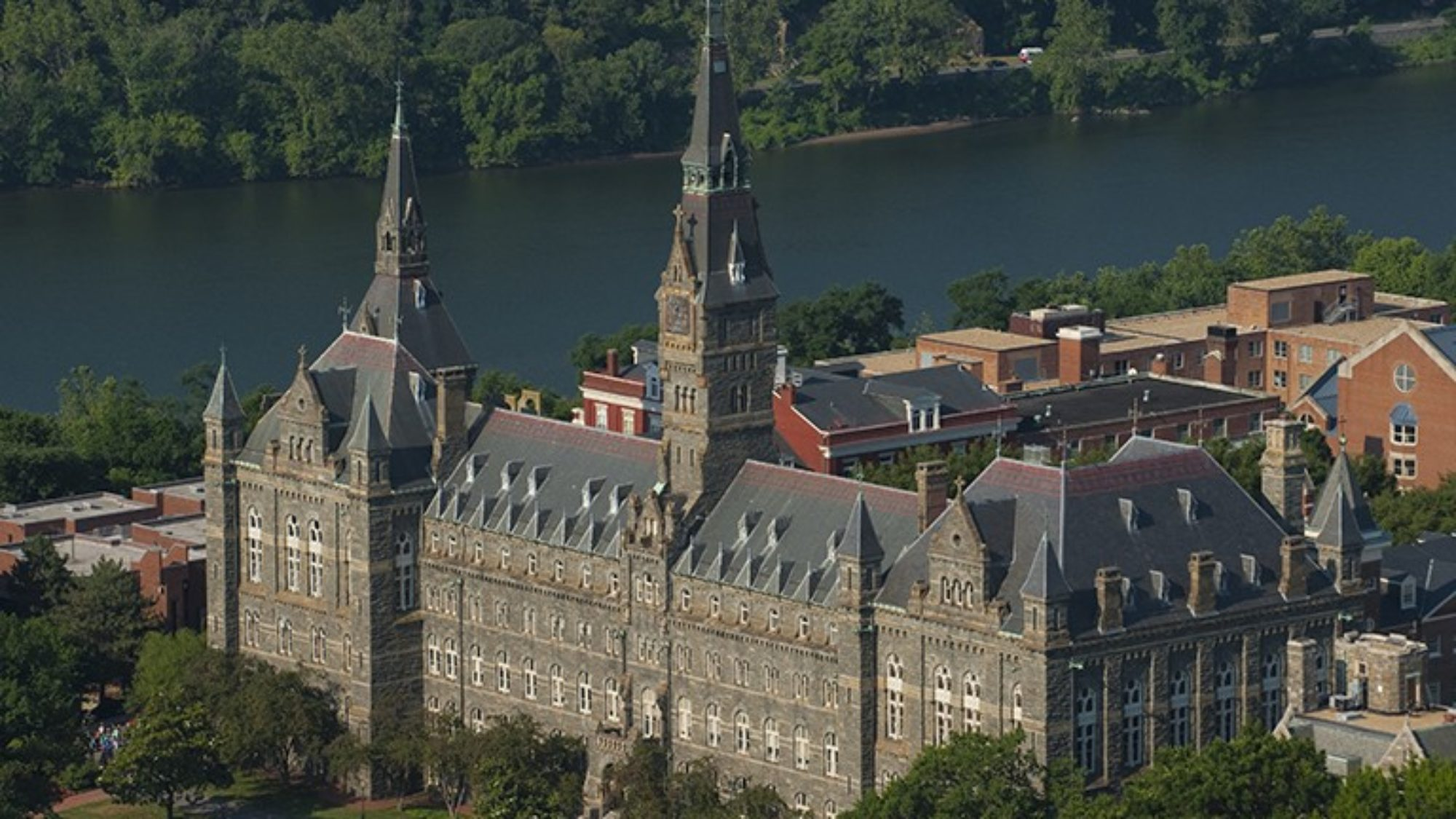 Aerial view of Georgetown focusing on Healy Hall