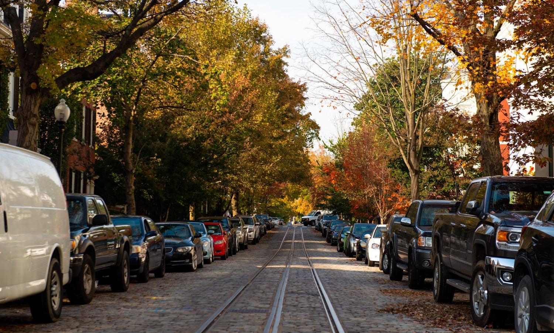 The neighborhood on a fall day