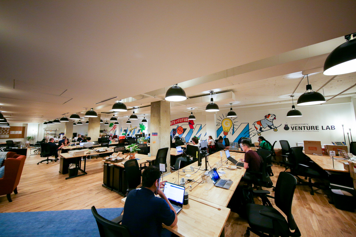 Students work in the Georgetown Venture Lab.