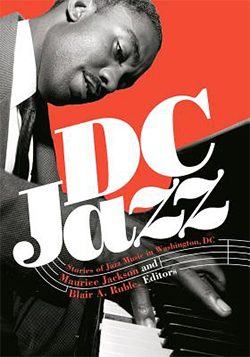 Red book cover reads D.C. Jazz: Stories of Jazz Music in Washington, DC