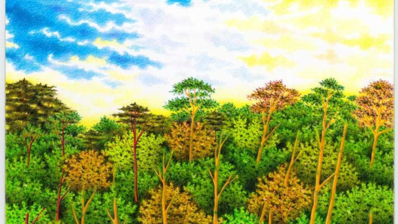 Colored pencils drawing of trees and golf course