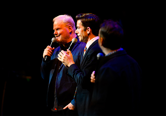 Comedians Jim Gaffigan, John Mulaney and Mike Birbiglia
