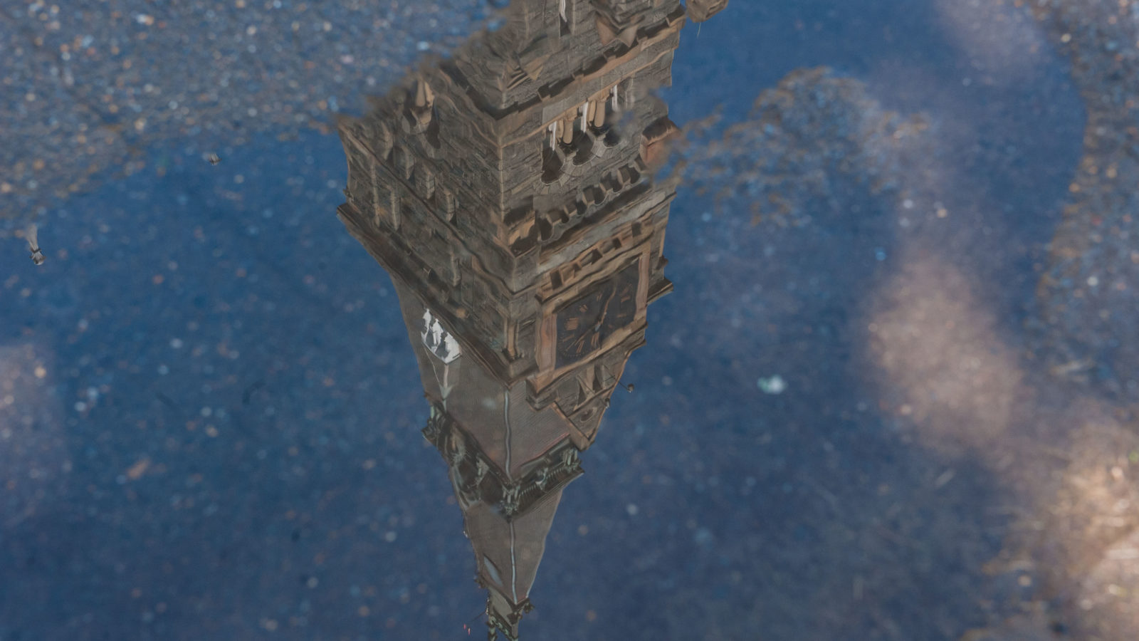 Healy Hall reflected in a puddle.