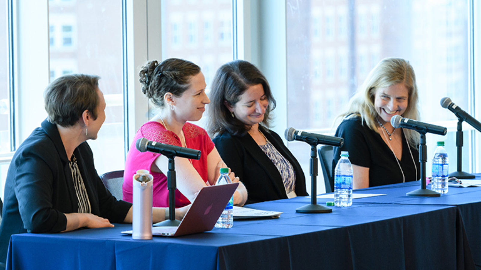 Pearl Sandick, Kathryne Sparks Woodle, Abigail A. Fraeman, Katherine Freese sit at a table with microphones