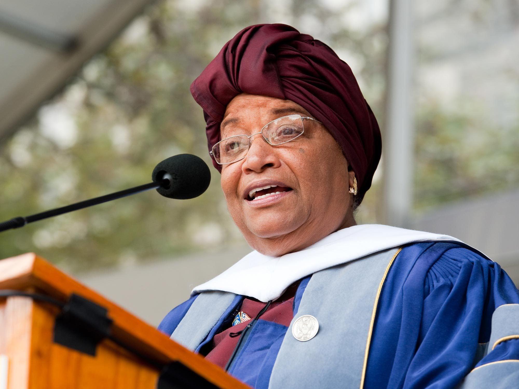 Ellen Johnson Sirleaf speaks at Commencement