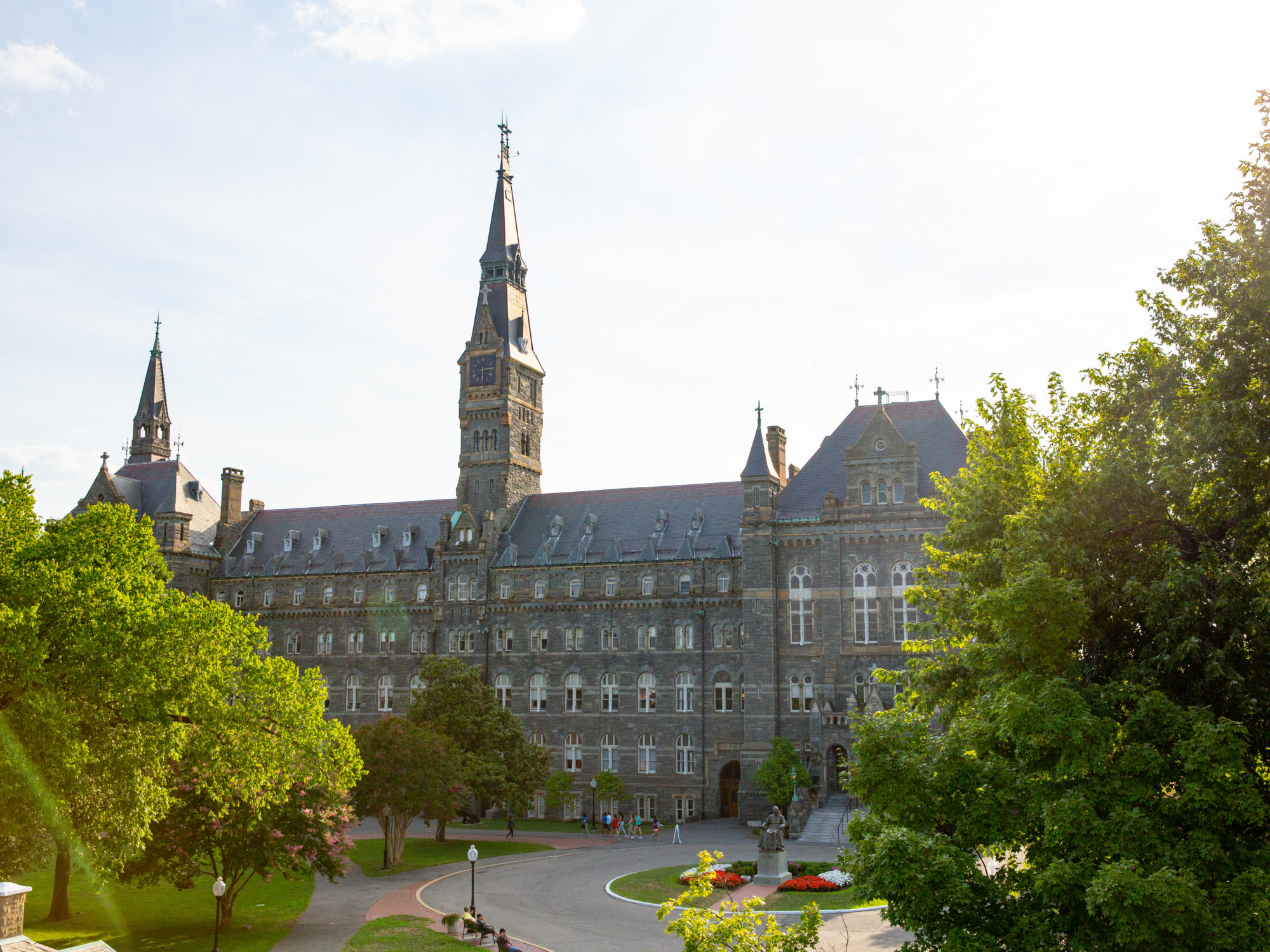 Healy Hall during a sunset.