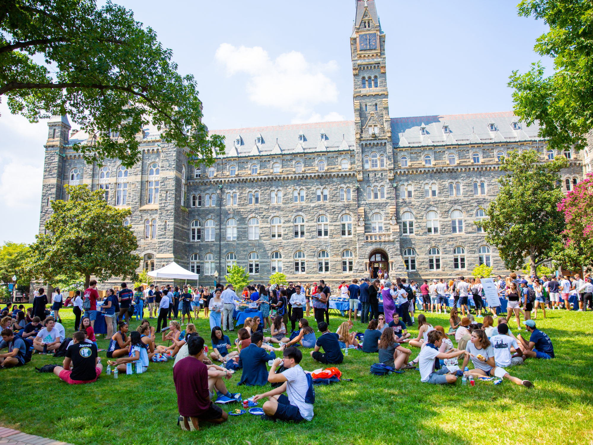 Students sit on the lawn in front of Healy Hall.