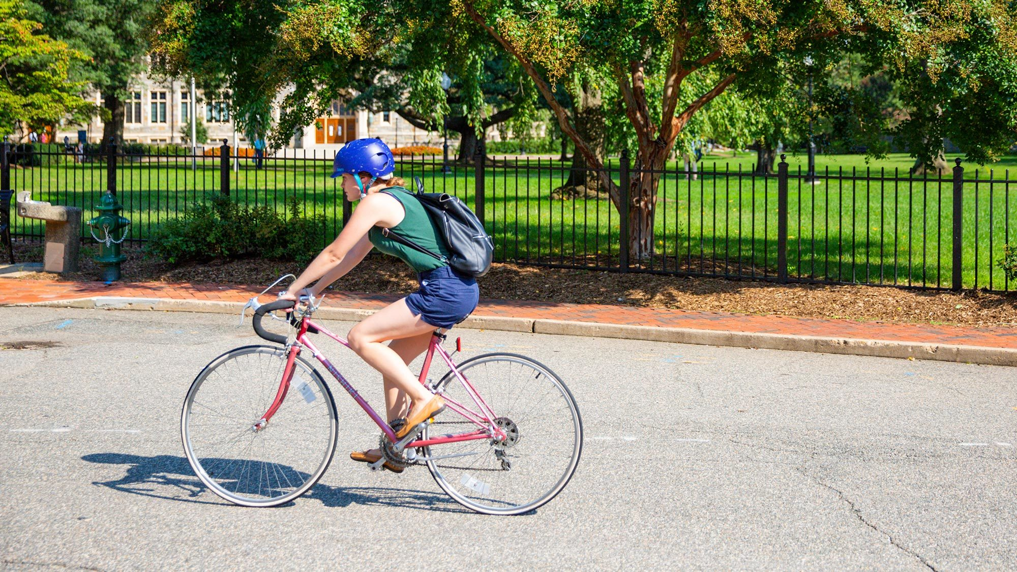 A Georgetown student bicycling