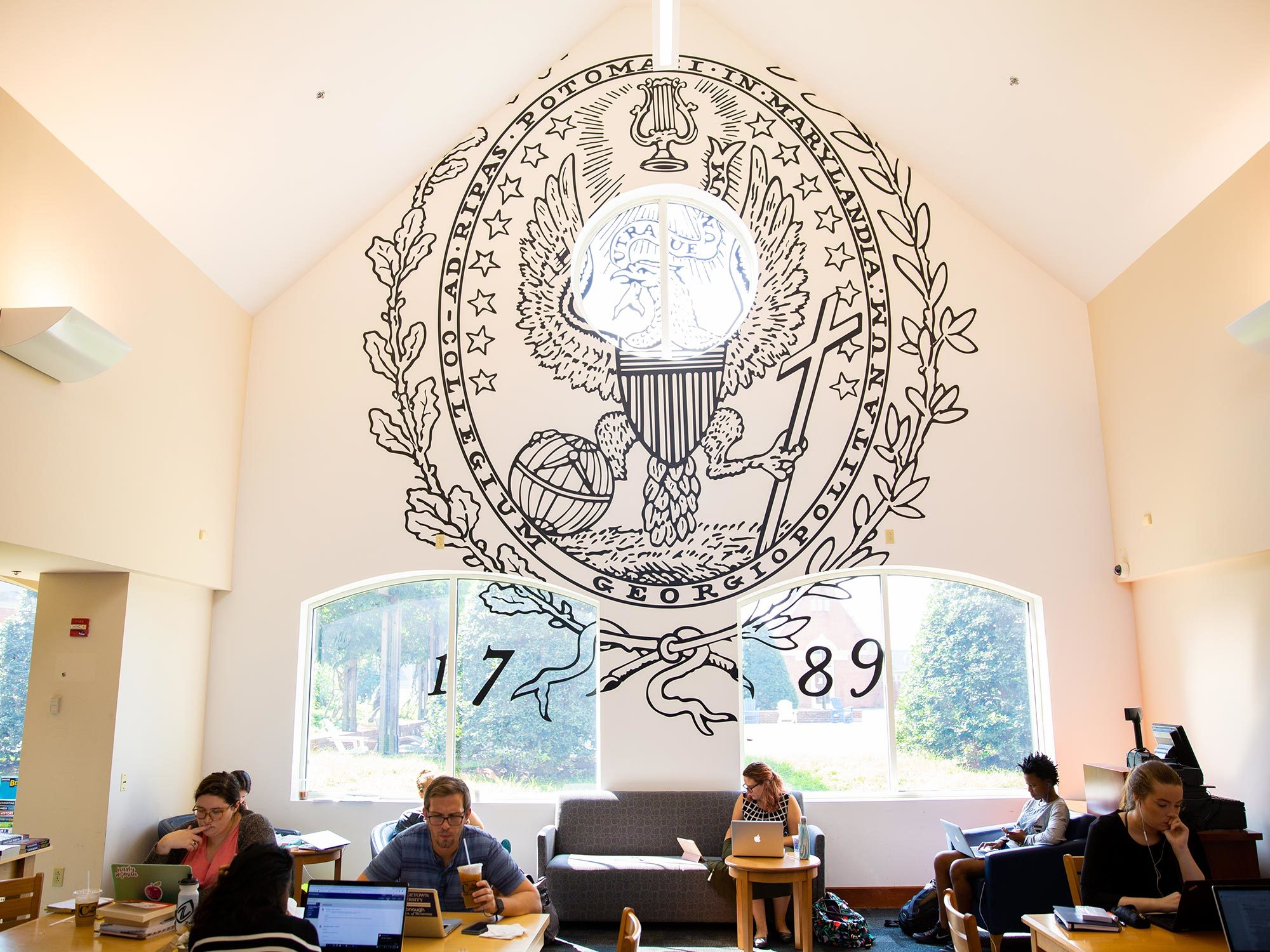 Students study at the Corp's Leavey Center coffee shop.
