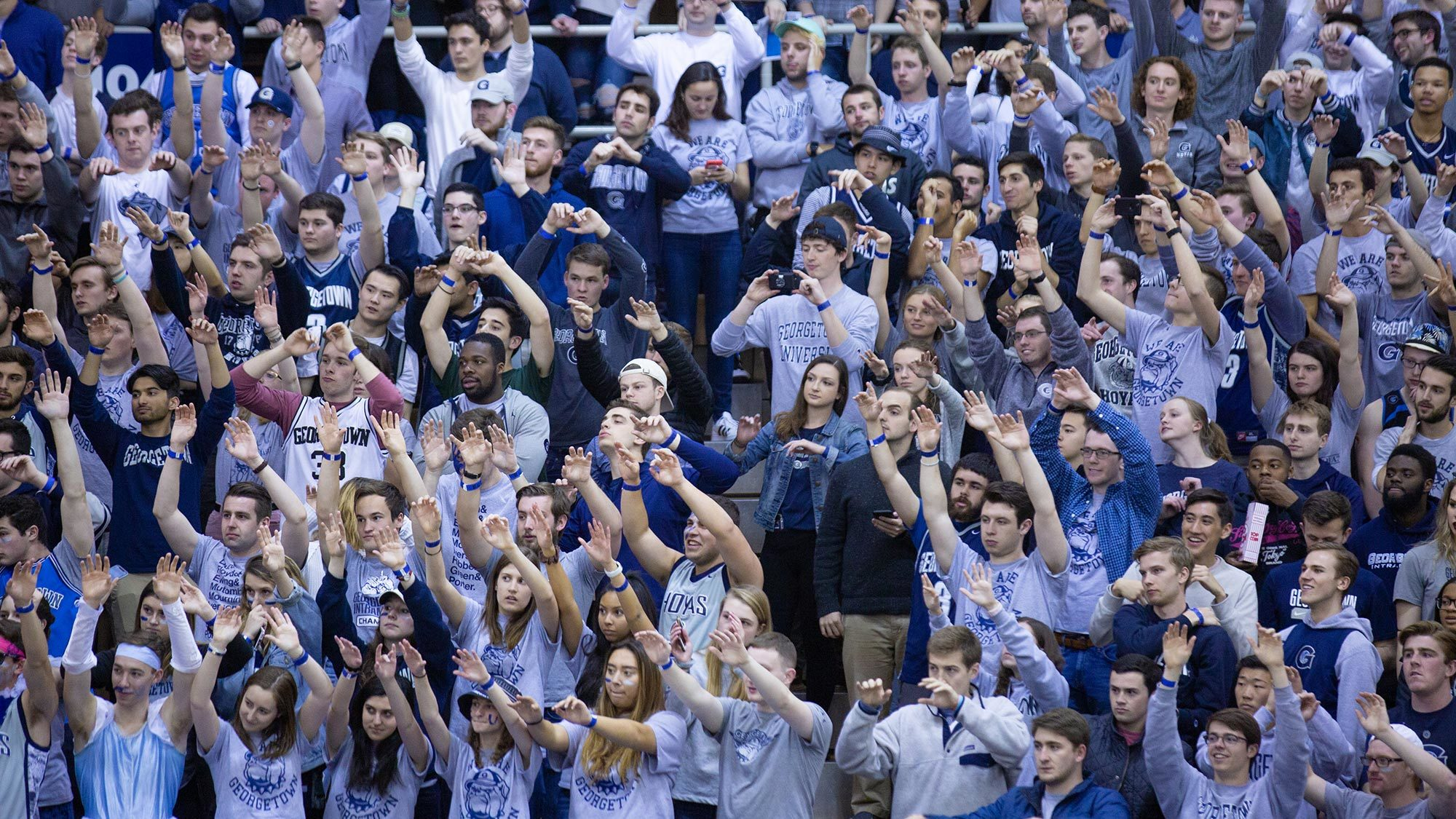 Georgetown students attend a basketball game