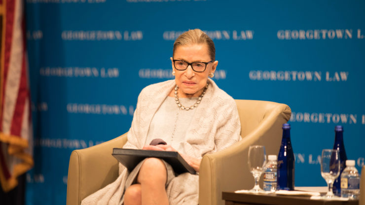 Ruth Bader Ginsburg speaks at the Law Center.