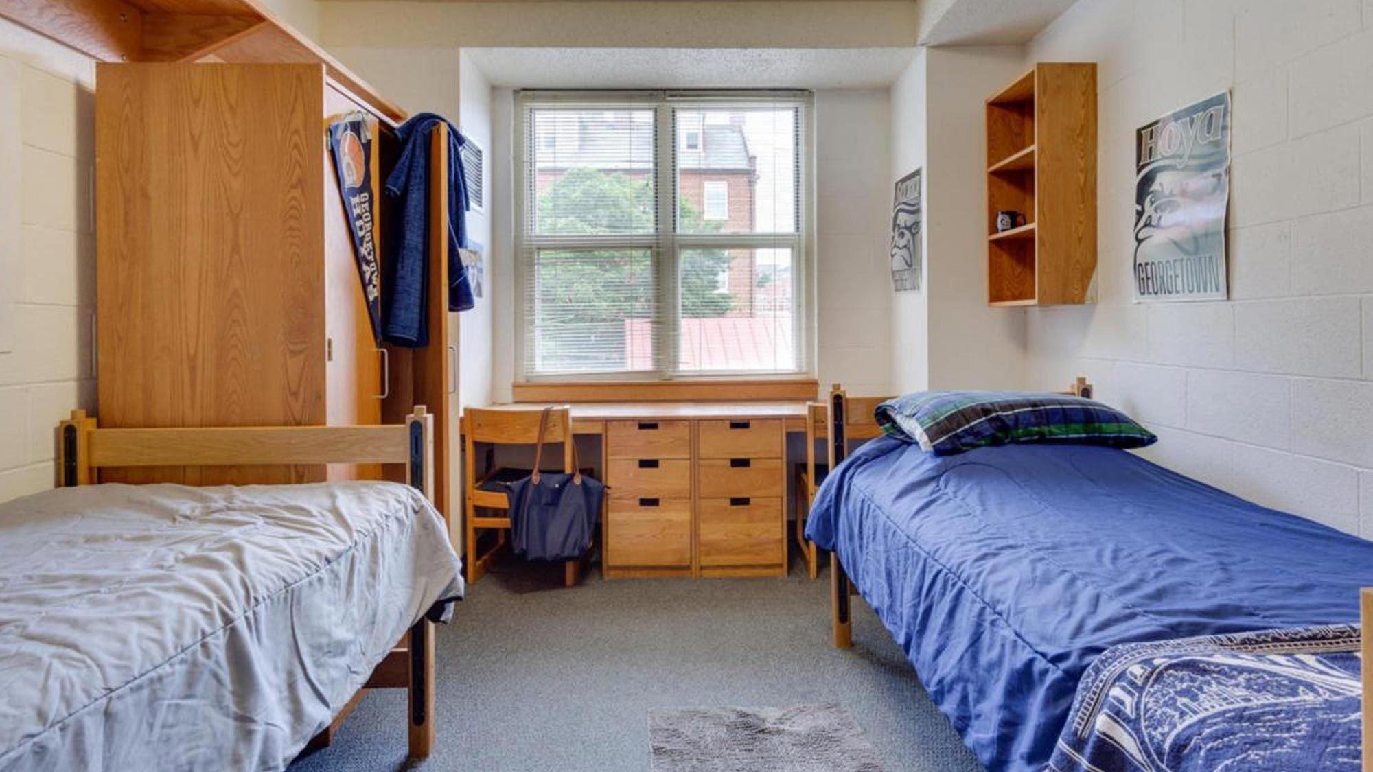 An undergraduate double-occupancy dorm room.