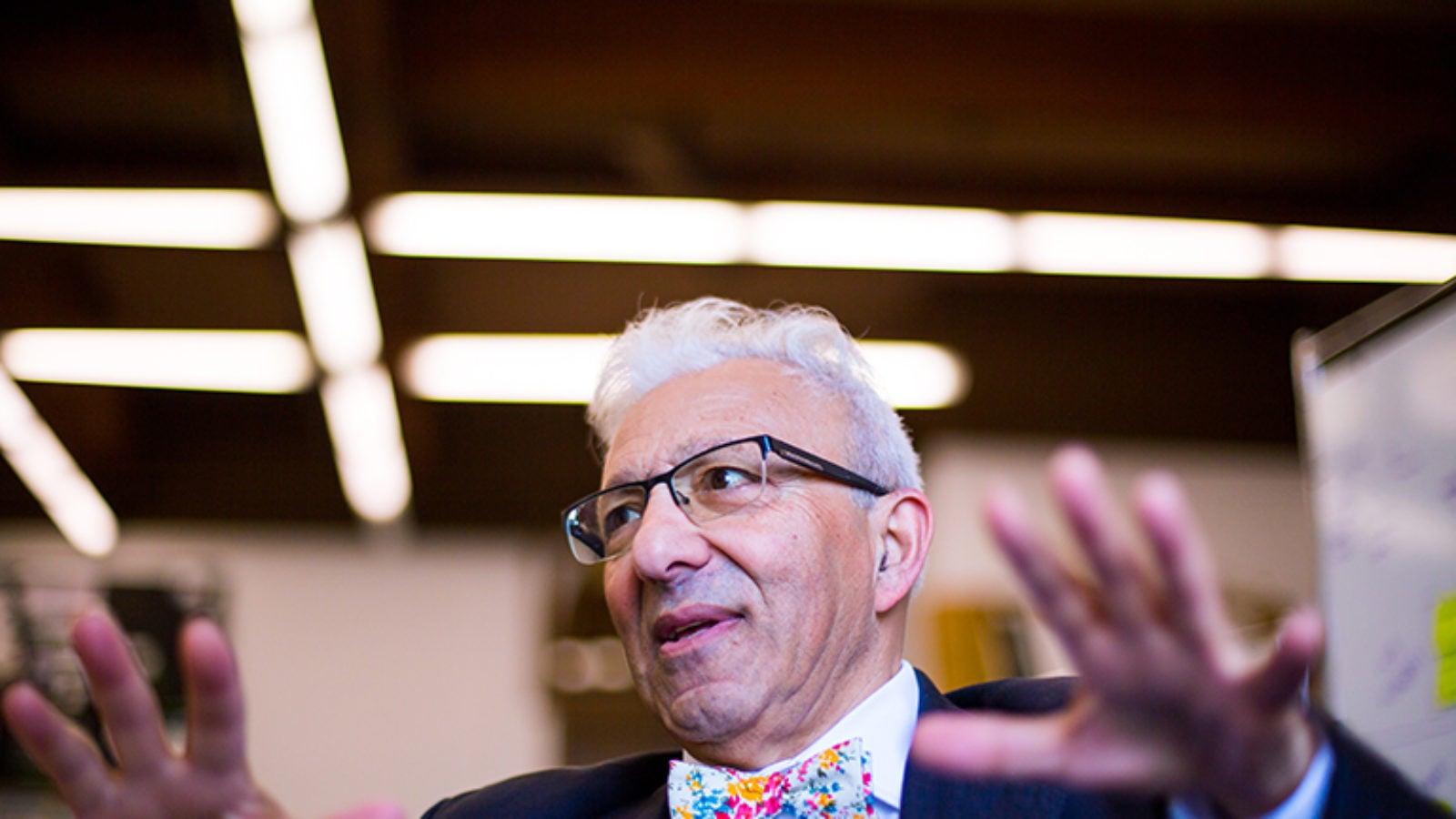 Image of Psychology professor Fathali Moghaddam speaking.