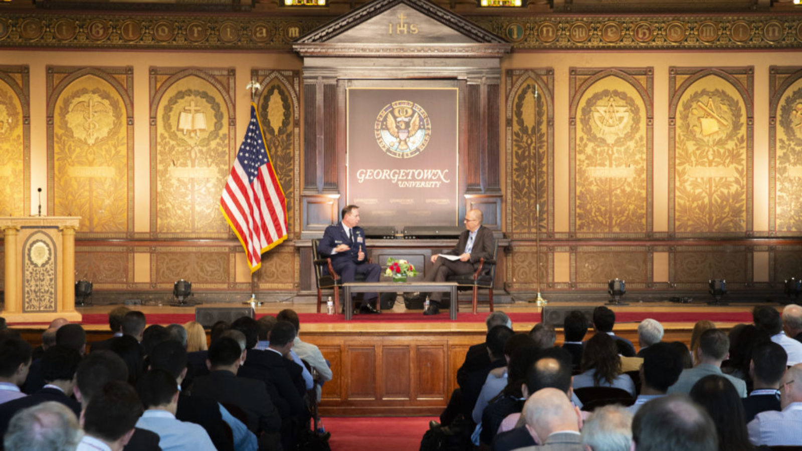 General Jack Shanahan, Director of the DoD Joint Artificial Intelligence Center, and Jason Matheny, Director of CSET, discussed the foundation of the Joint Artificial Intelligence Center at the Kalaris Intelligence Conference on September 25, 2019.