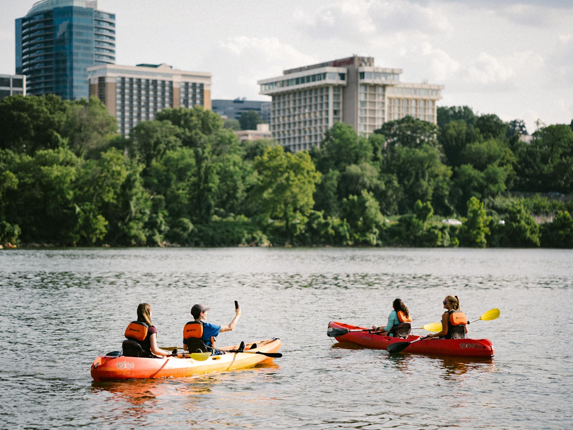 Students kayak on the Potomac River.