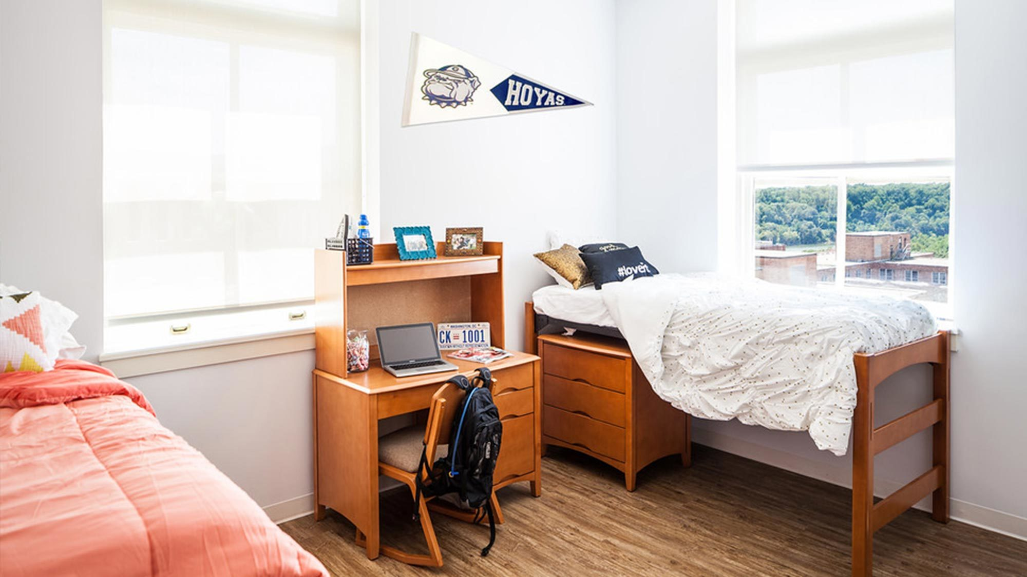 An upperclassmen dorm room.