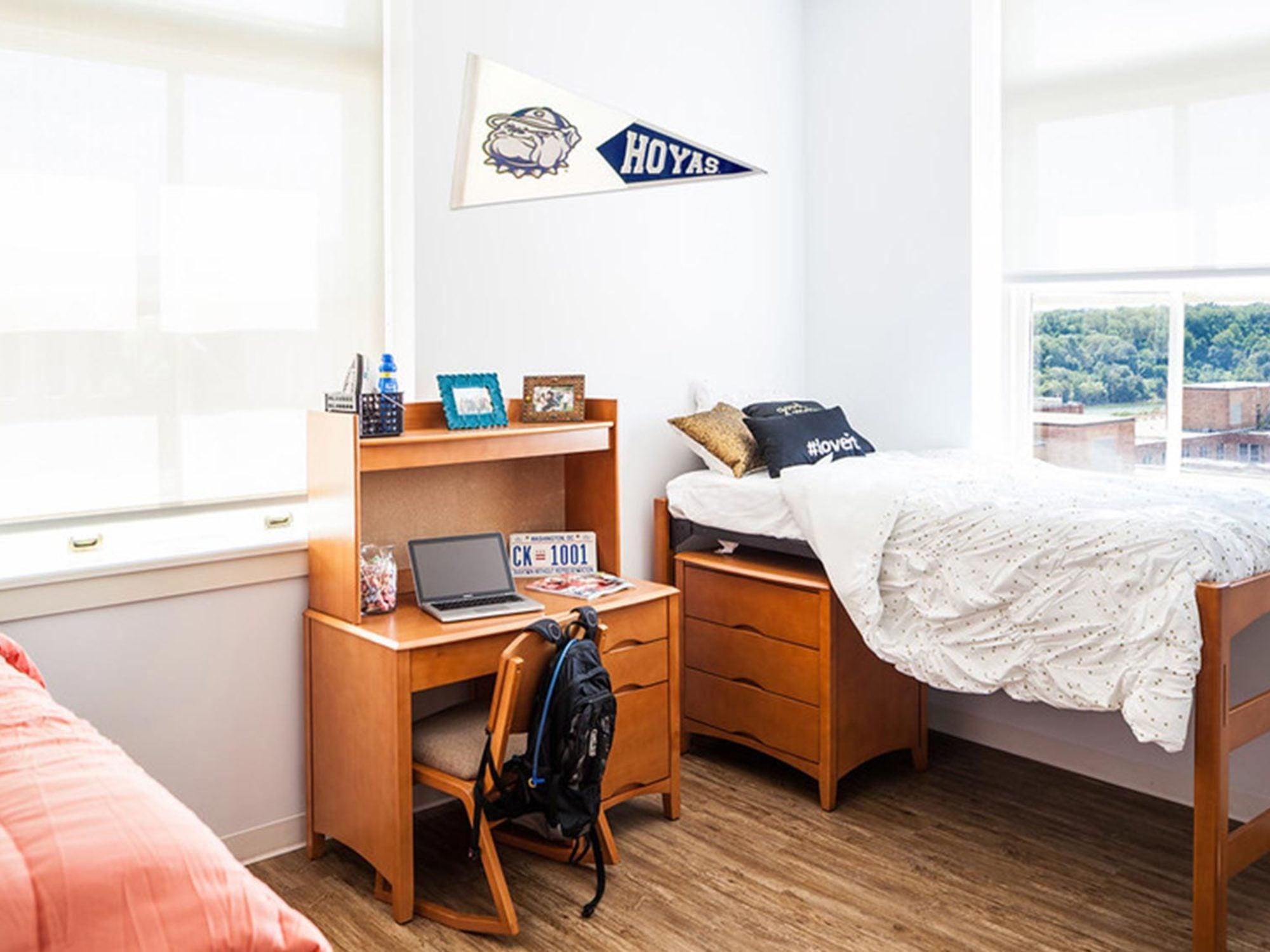 An upperclassmen dorm room.