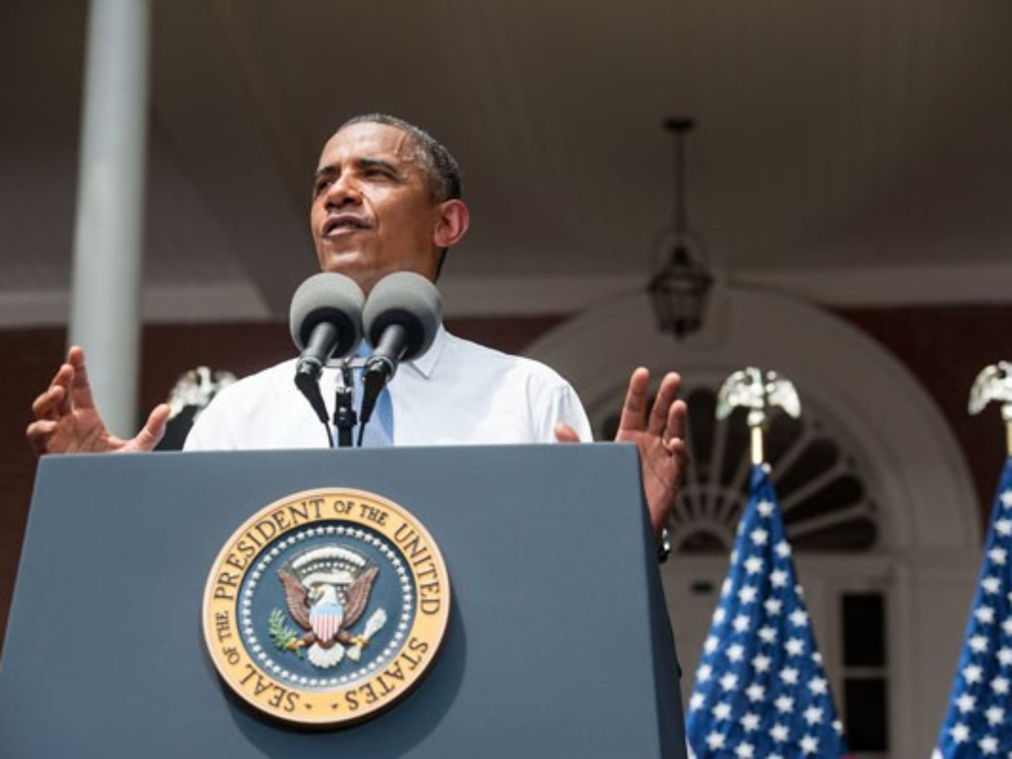 President Obama speaks from the Old North Steps.