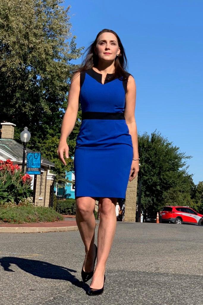 Kristi Pelzel walking on Georgetown campus