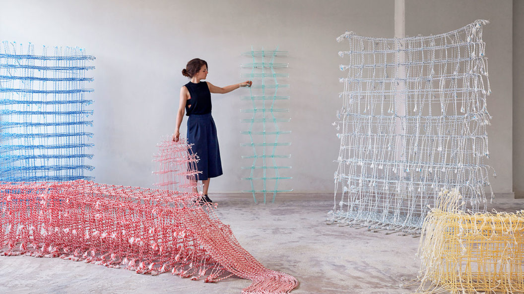 Fransje Gimbrère rrecycled polyester braided sculpture