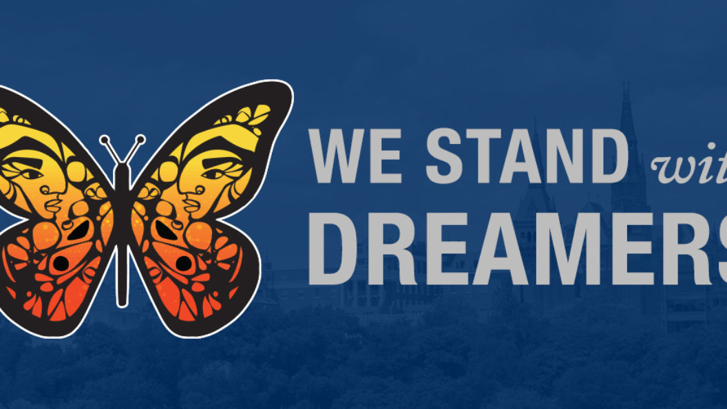 Graphic of a butterfly with Healy Building behind it and the words