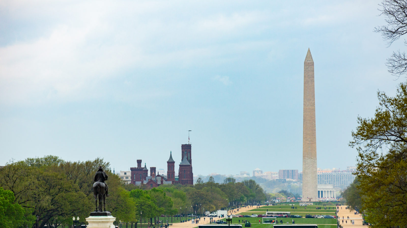 The Washington Monument towers over the National Mall.
