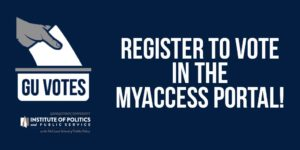 "Illustration of a ballot dropping into a box with the words ""You can register to vote in the myaccess portal."""