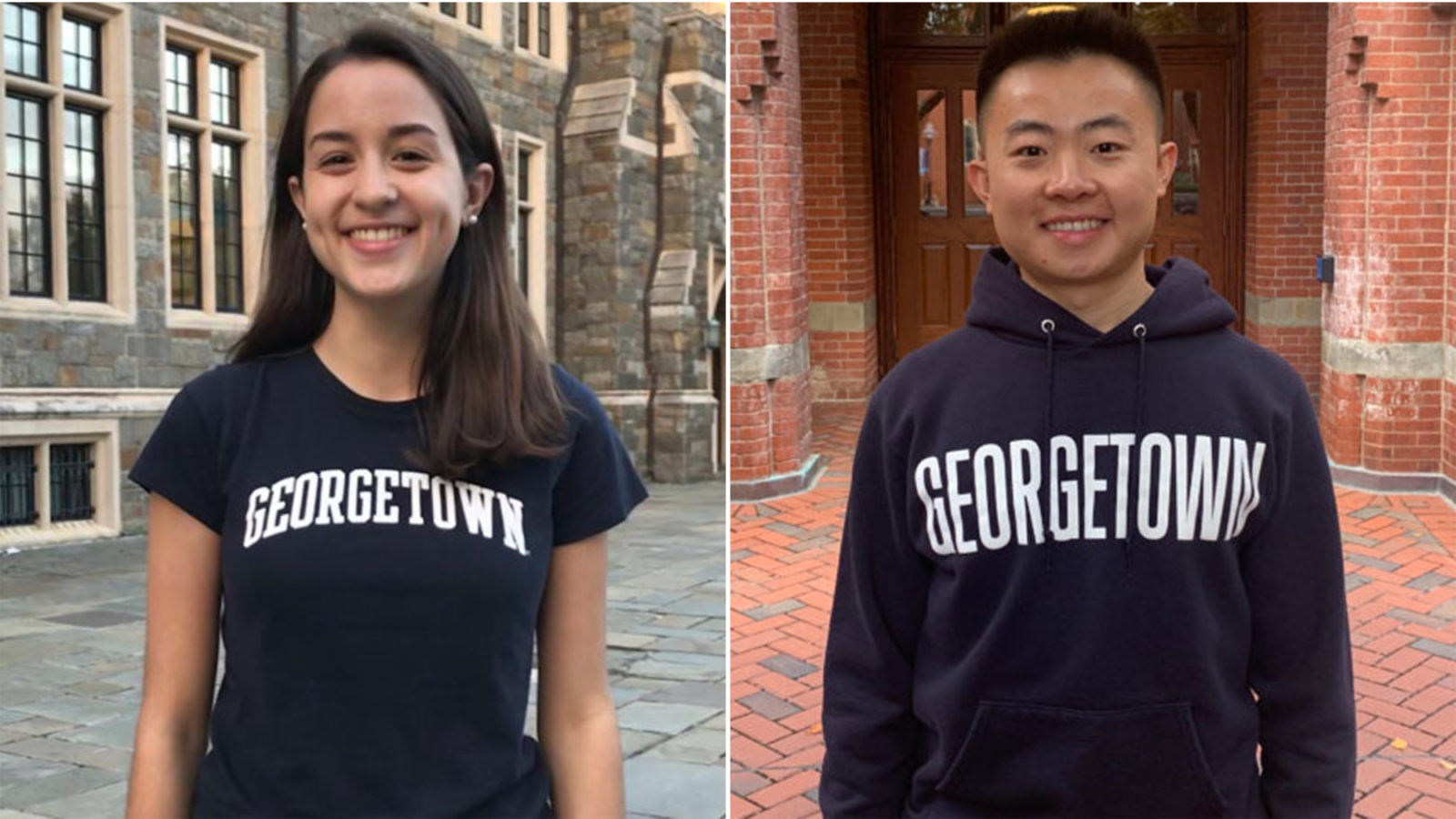 Elena Ortiz and Bryan Haiwen Zou stand in side-by-side photos wearing Georgetown shirts outside.