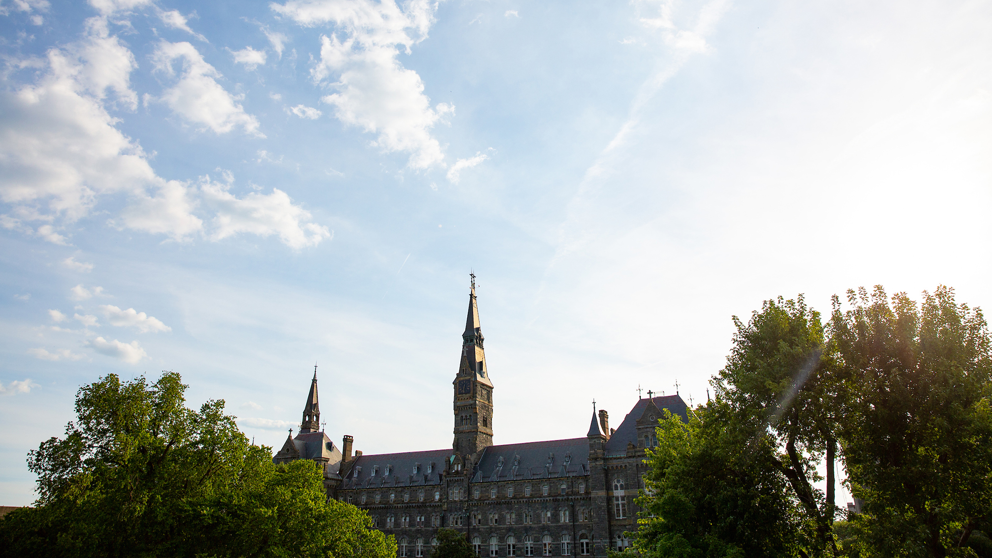 Healy Hall shines on a sunny day