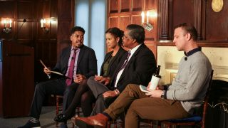 Terrence Johnson, Soyica Colbert, Josiah Ulysses Young III and Drew Lichtenberg sit on a stage in conversation