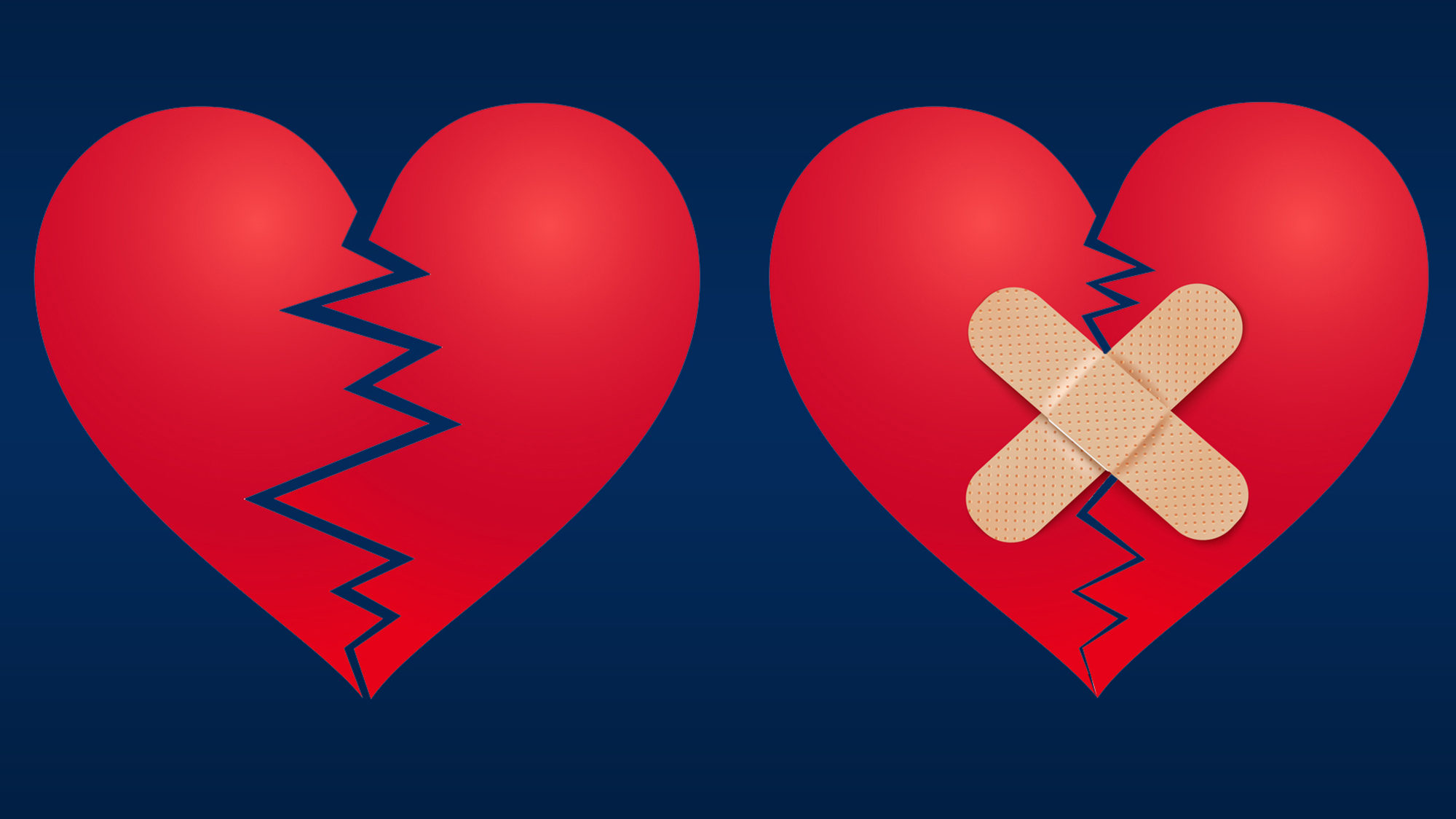 Two illustrations of hearts, one broken and the other broken with bandaids on it.