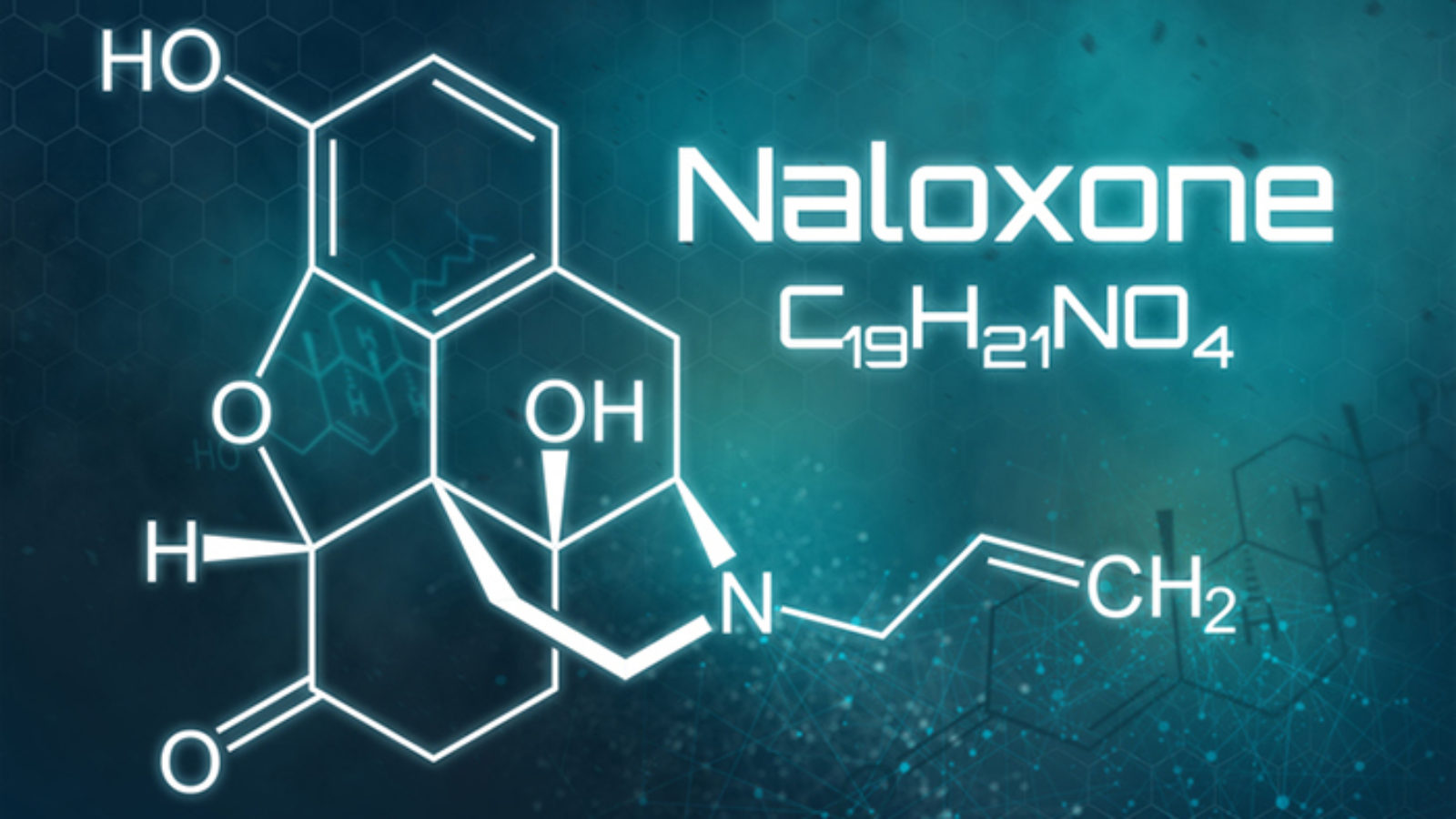 Illustration of the chemical formula for Naloxone, the antidote for opioid overdose