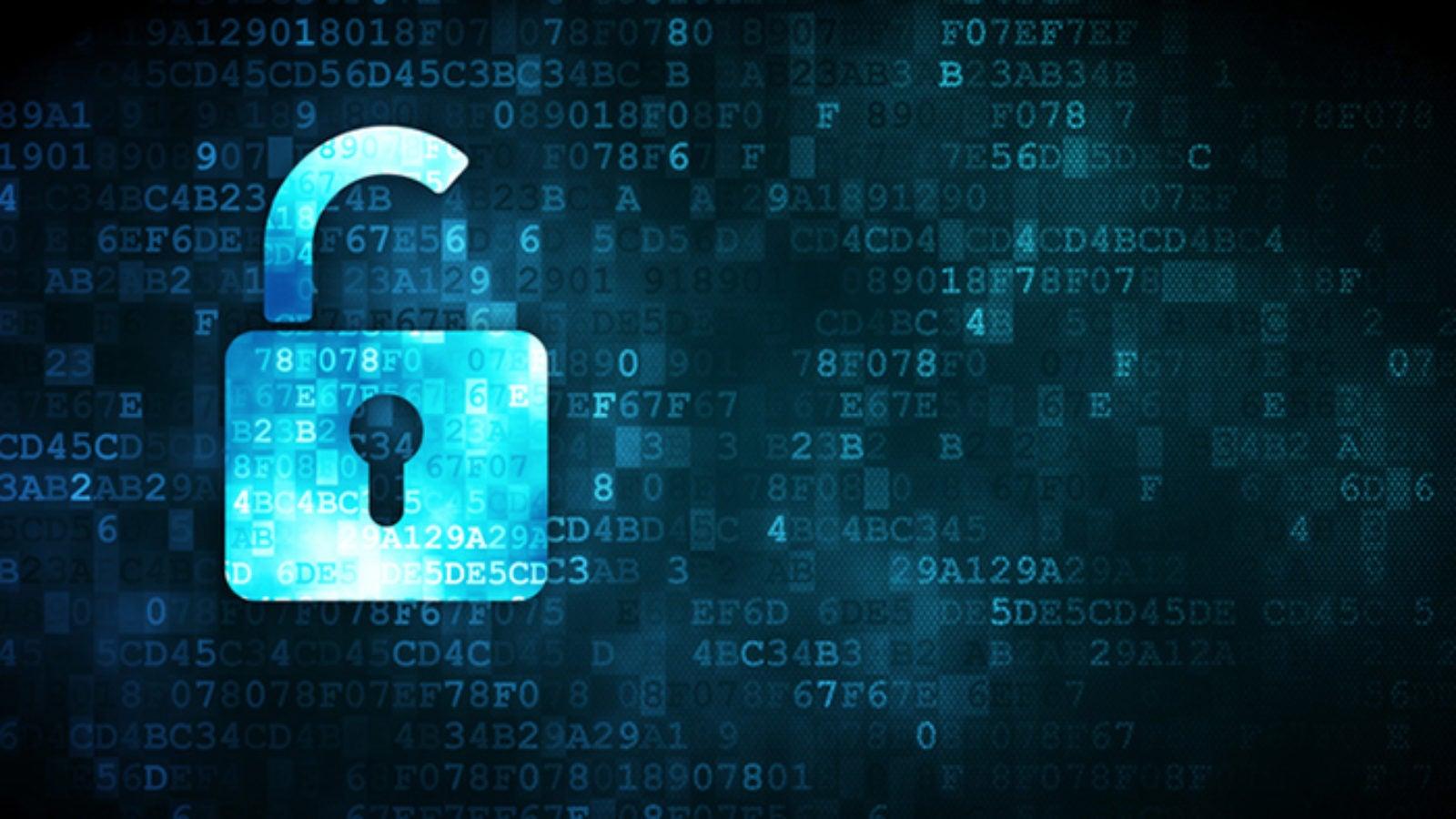 pixelated Opened Padlock icon on digital background