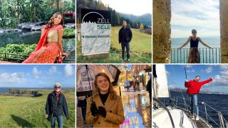 Six fulbright scholars, three across in two rows, are featured in their countries of study.