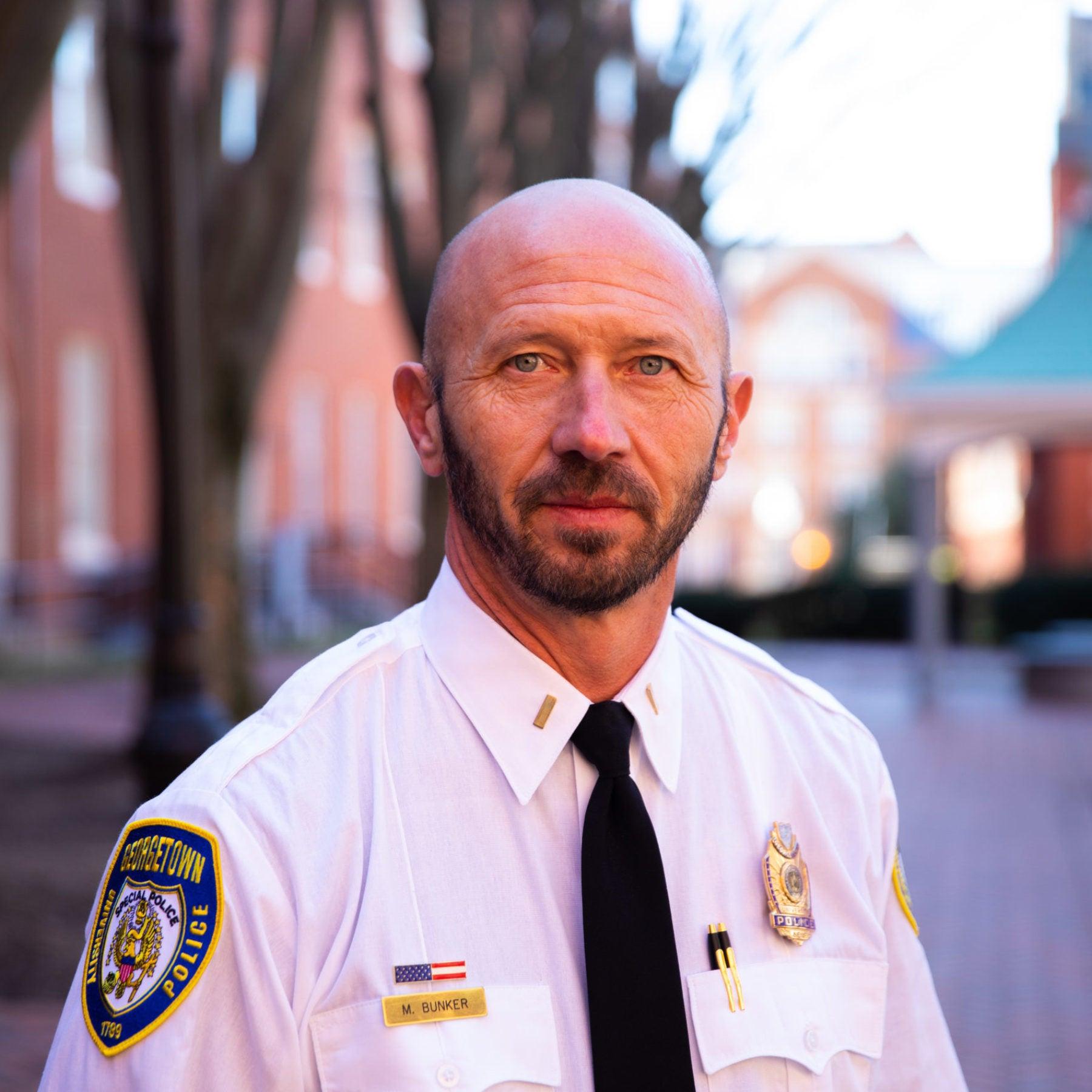 Michael Bunker outside wearing GUPD uniform