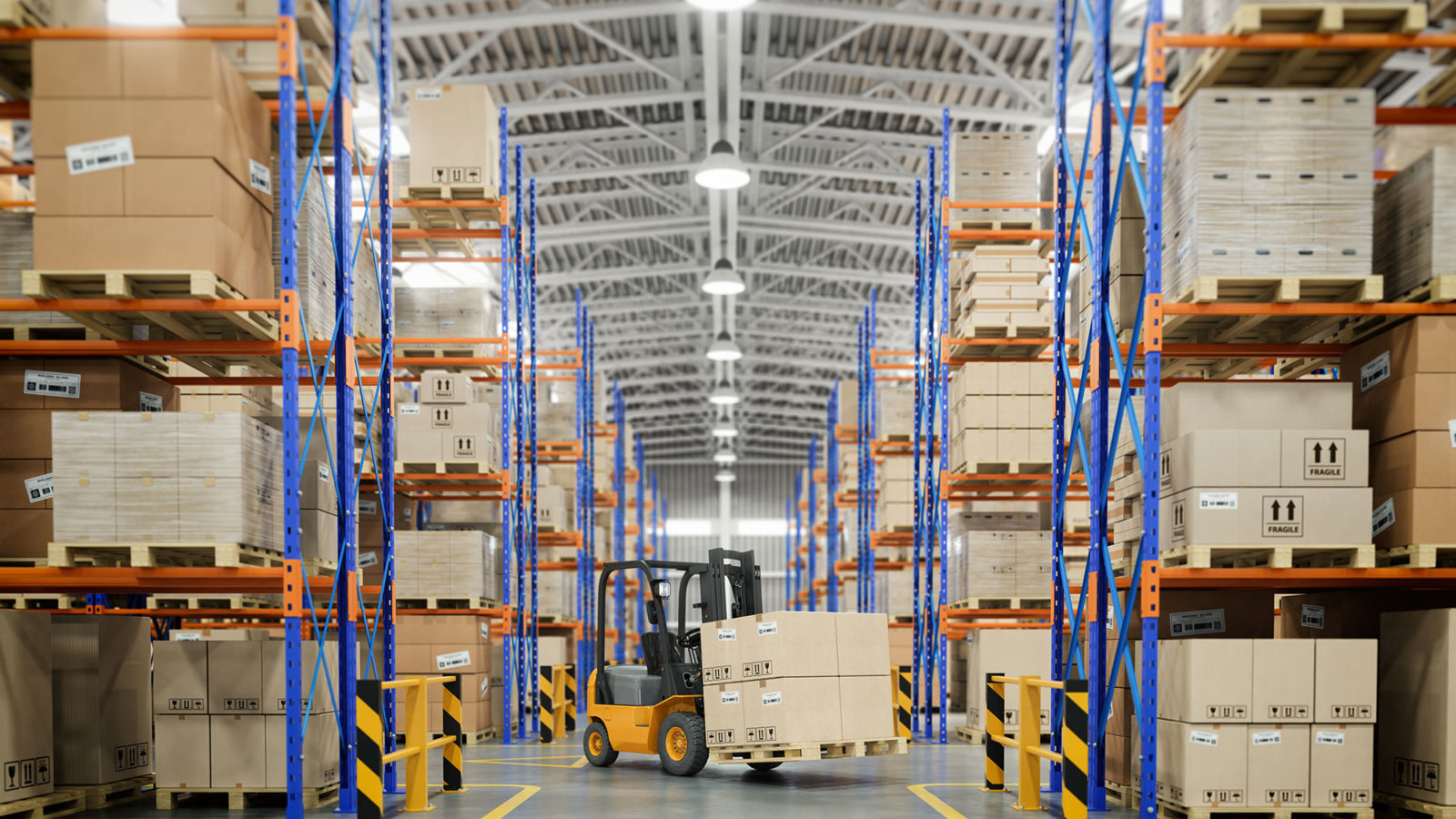 Boxes stackes in aisles in a warehouse.