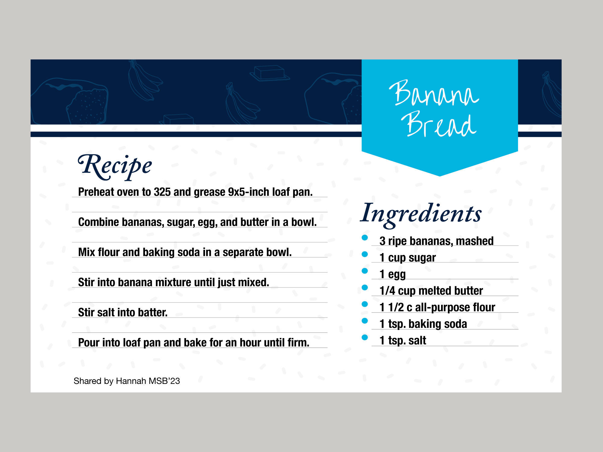 A recipe card displays the recipe for Banana Bread