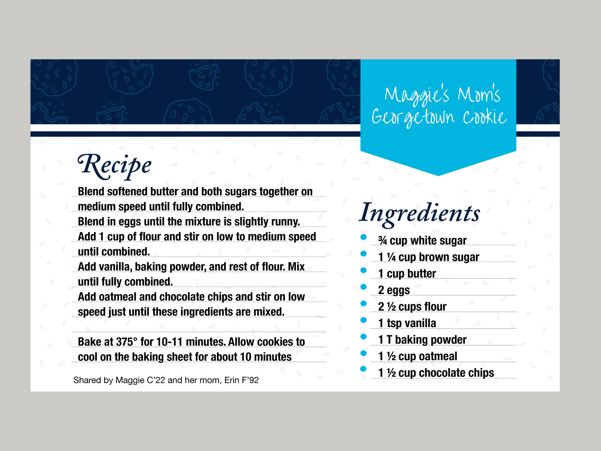 A recipe card displays the recipe for Georgetown Cookies