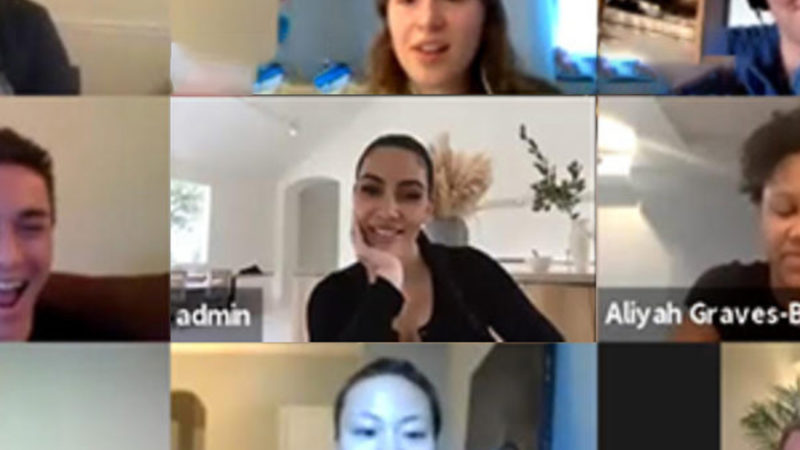 Screenshot of Kim Kardashian and students in a Zoom class