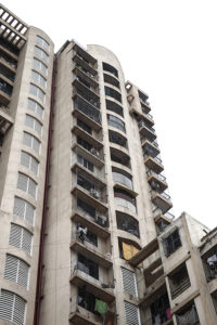 High rise building of high-density apartments