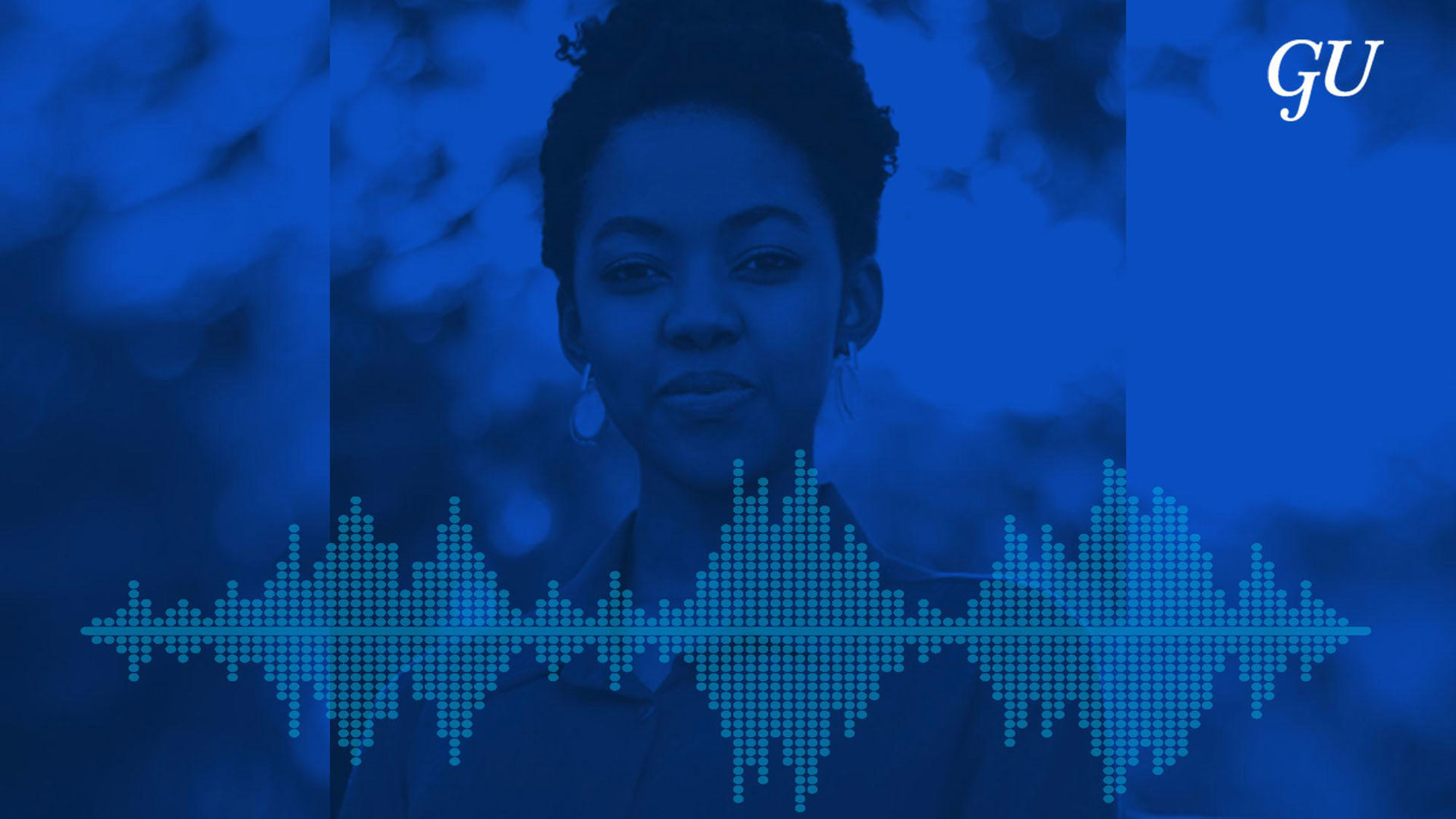 Graphic of Maya James with a blue overlay.