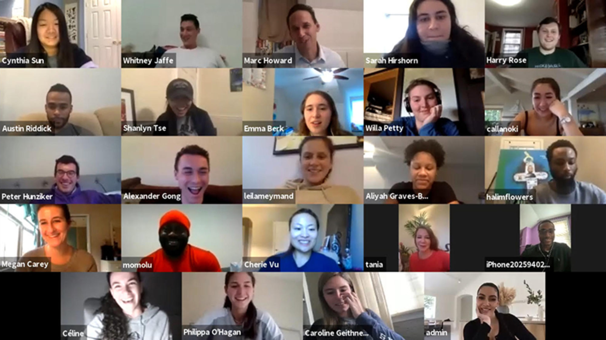 A screenshot of students and formerly incarcerated prison scholar program participants in a Zoom session with professor Marc Howard and Kim Kardashian.