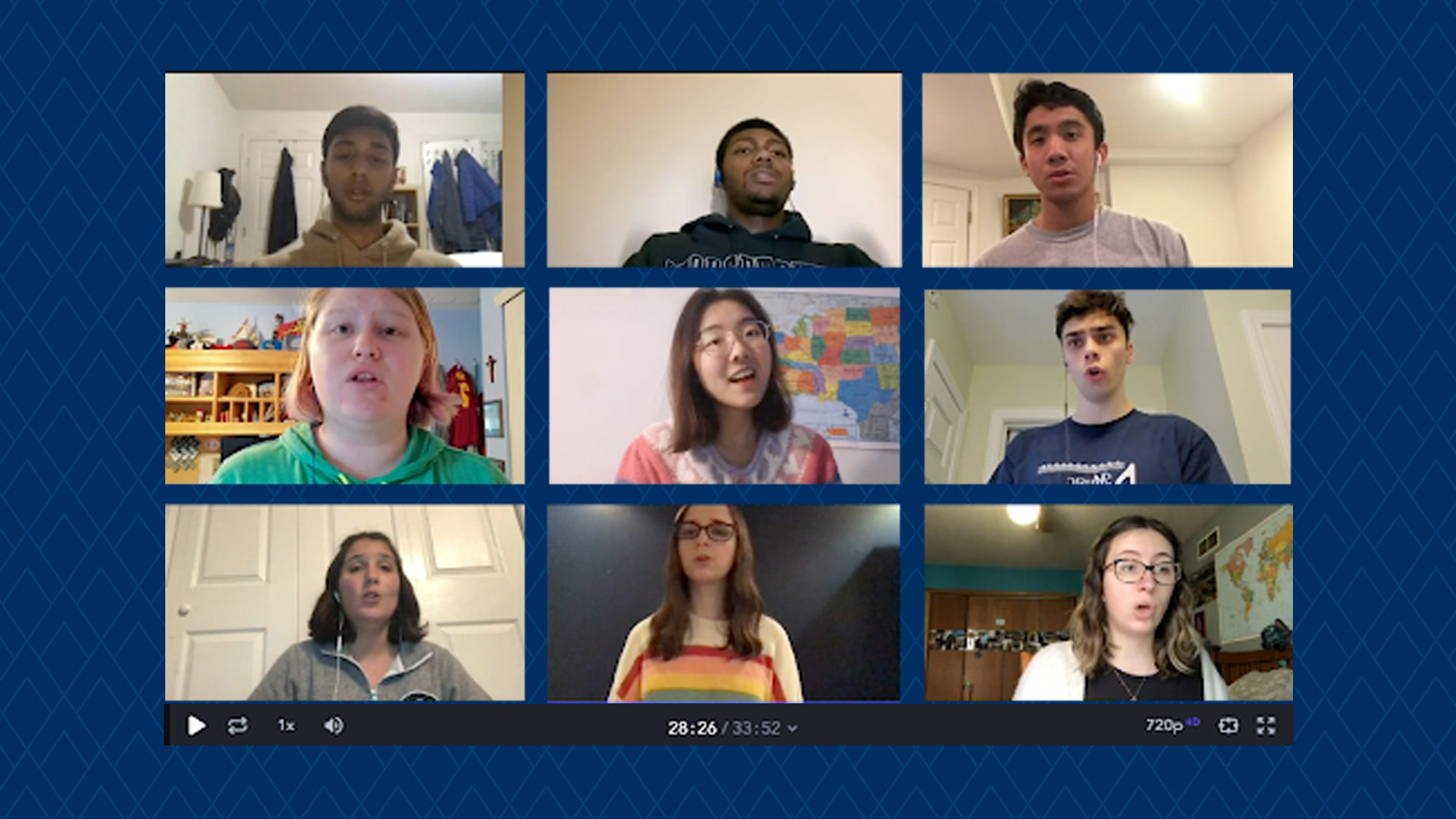 Students singing on Zoom