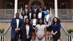 Taurjhai Purdie stands with her fellow members of the Georgetown University Minority Pre-Law Association.