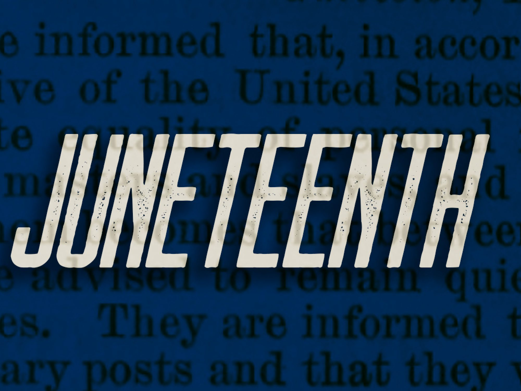 Juneteenth Graphic with a blue background.