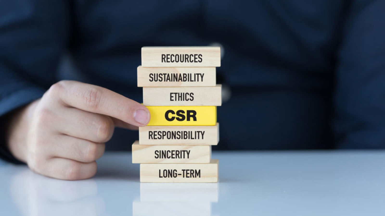 Building blocks feature words – including sustainability, ethics resources and CSR.